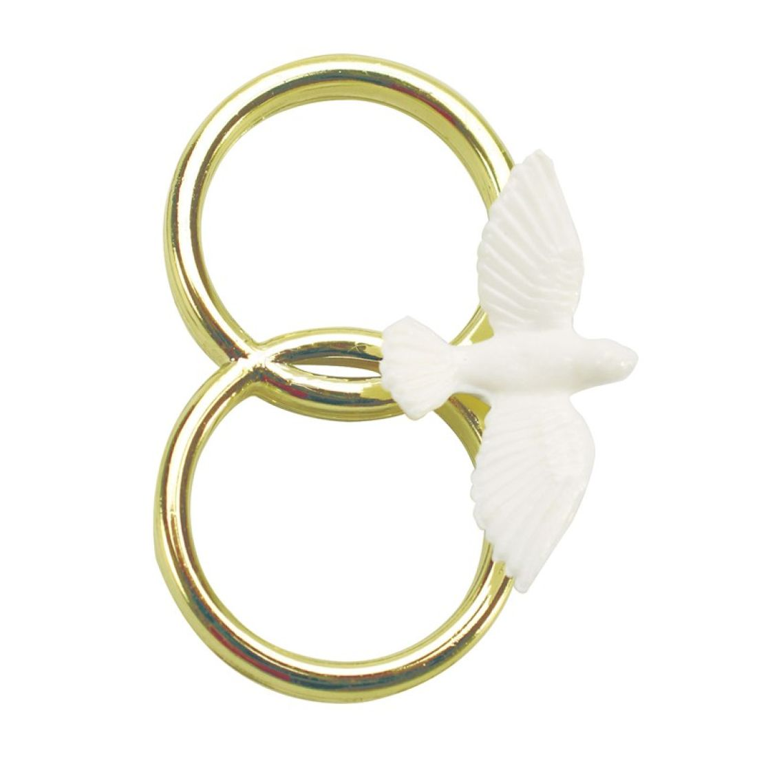 Wedding Good Luck Token Dove on Double Gold Colour Ring Squires