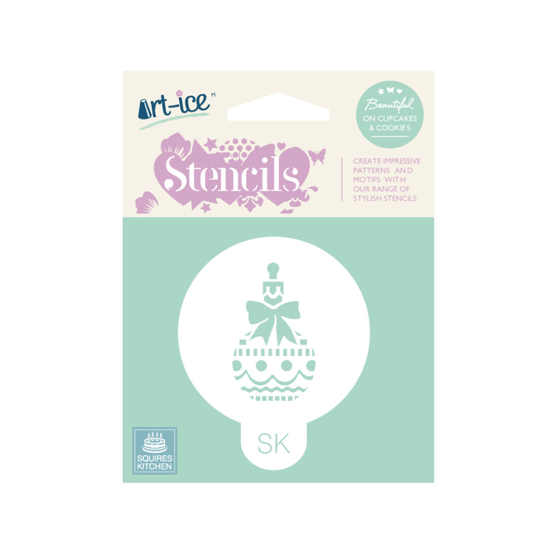 SK Art-ice Stencil Round Christmas Bauble | Squires Kitchen Shop