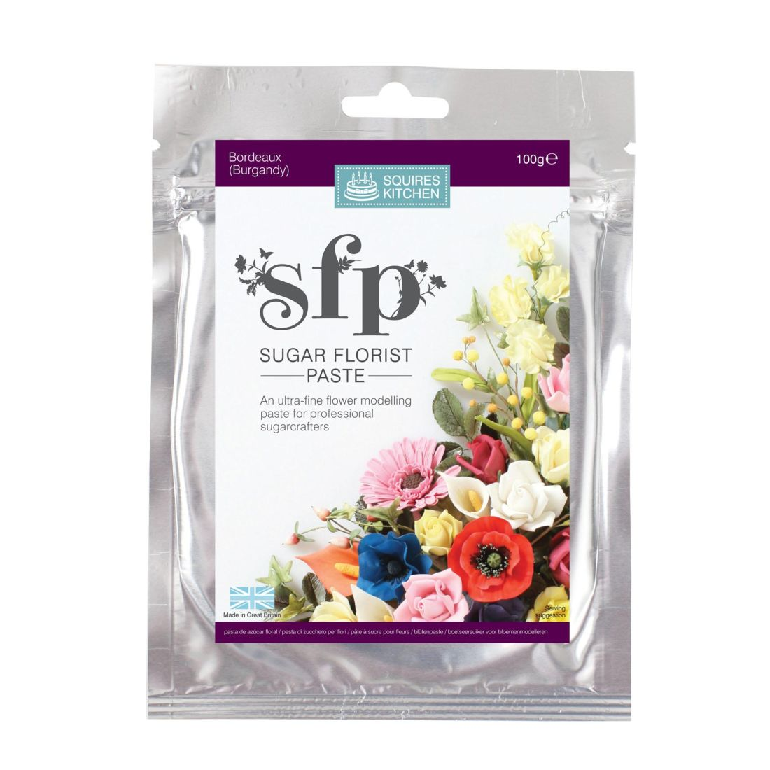SK SFP Sugar Florist Paste Bordeaux Burgundy 100g | Squires Kitchen Shop