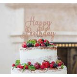 LissieLou Happy Birthday Pretty Cake Topper Glitter Card Rose Gold