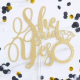 Sweet Stamp Gold Glitter Cake Toppers - She Said Yes