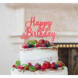 LissieLou Happy Birthday Pretty Cake Topper Glitter Card Light Pink
