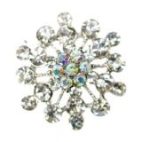 Small Flower Diamante Brooch