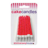 Glitter Candles Pack of 12 - Red