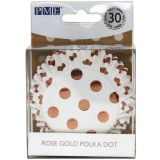 PME Cupcake Cases Foil Lined - Rose Gold Foil Polka Dots Pk/30