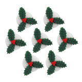Mini Holly Sugar Decorations set of 7