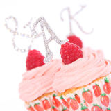 Diamante Letter Cake Picks - W