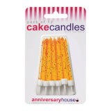 Glitter Candles Pack of 12 - Orange