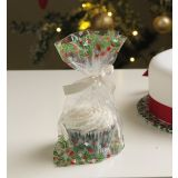 Holly Cupcake Bags with Ties Pack of 12