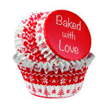 Nordic Red Foil Lined Cupcake Cases - Pack of 25