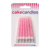 Glitter Candles Pack of 12 - Pink