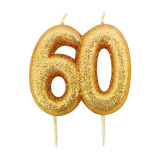 Gold Glitter Number Candles 21