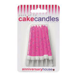 Glitter Candles Pack of 12 - Fuchsia