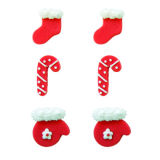 Stockings, Mittens & Candy Cane Sugar Decorations set of 6