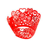 Red Lace Hearts Cupcake Wraps Pack of 12