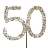 Diamante Number Cake Picks - 50 Gold