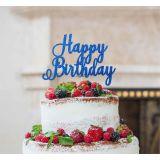 LissieLou Happy Birthday Pretty Cake Topper Glitter CardDark Blue