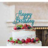 LissieLou Happy Birthday Pretty Cake Topper Glitter CardLight Blue