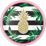 Paper Lunch Plates Golden Foil Pineapple