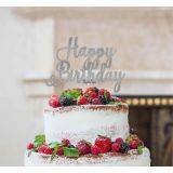 LissieLou Happy Birthday Pretty Cake Topper Glitter CardSilver