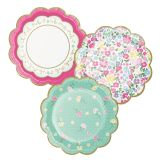 Paper Lunch Plates Floral Tea Party Scalloped Multi-Pack