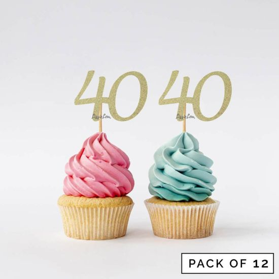 LissieLou Number 40 Cupcake Toppers Pack of 12 Gold