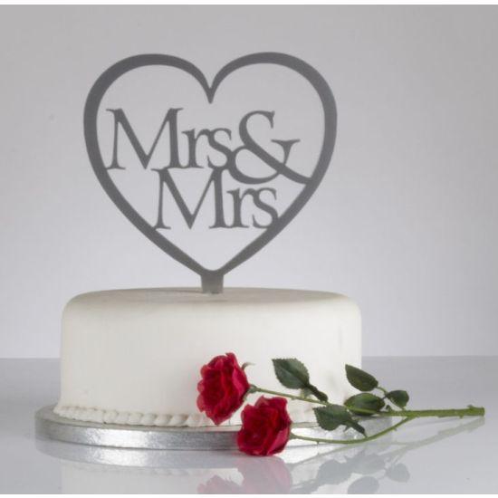 Mrs & Mrs Heart Shaped Cake Topper - Silver