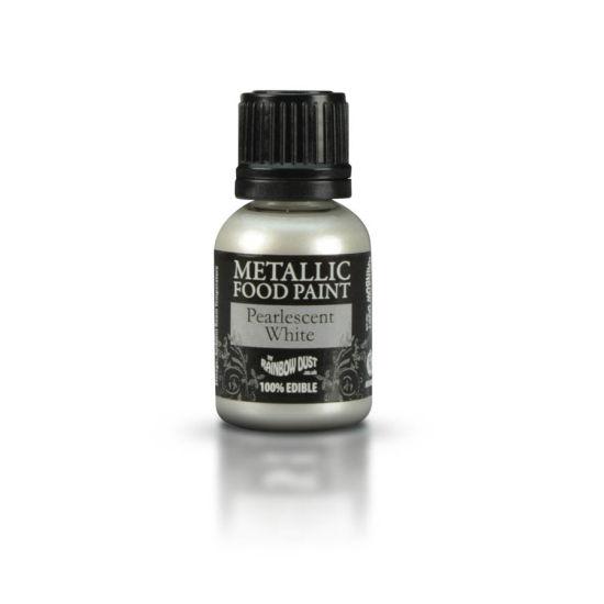 Rainbow Dust Metallic Food Paint - Pearlescent White 25ml