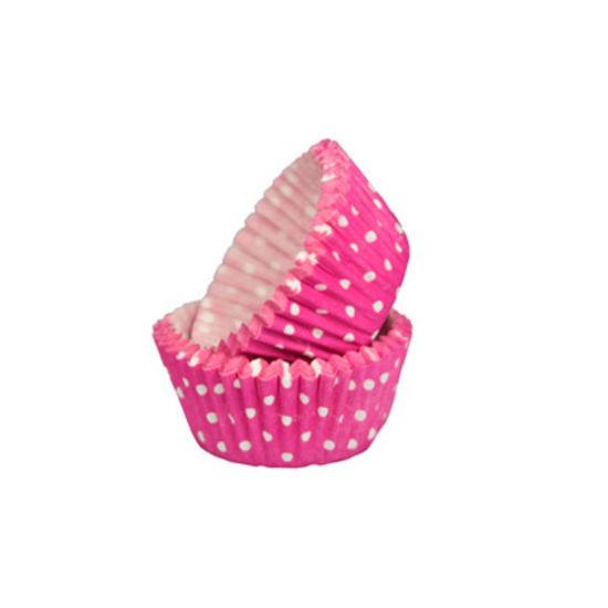 SK Mini Cupcake Cases Polka Dot Deep Pink - Bulk Pack of 500