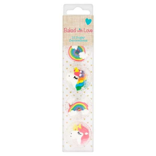 Unicorn & Rainbow Sugar Decorations Set of 12
