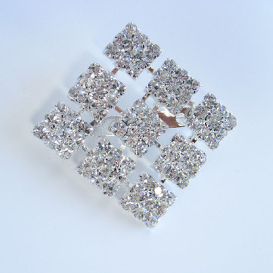 Large Diamante Square Ribbon Buckle