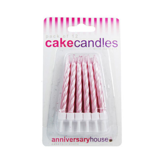 Pearlescent Spiral Candles Pack of 12 - Pink