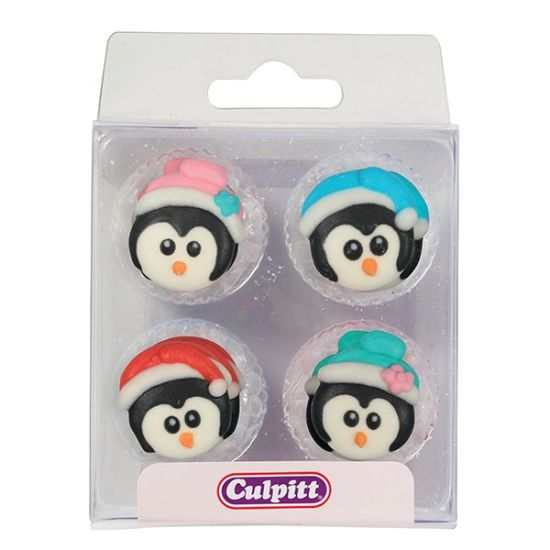 Christmas Penguins Sugar Decorations Set of 12