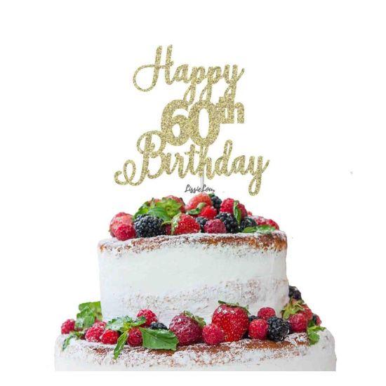LissieLou Happy 60th Birthday Pretty Cake Topper Glitter Card Gold