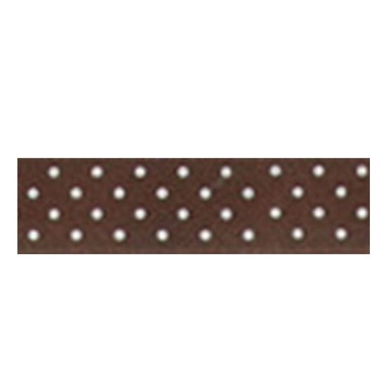 Dotty Satin Ribbon Chocolate 15mm