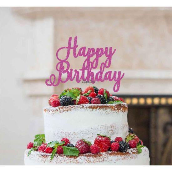 LissieLou Happy Birthday Pretty Cake Topper Glitter CardHot Pink