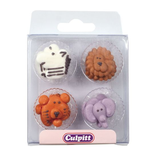 Animal Faces Sugar Decorations set of 12