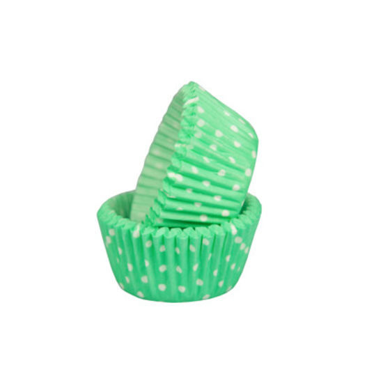 SK Mini Cupcake Cases Polka Dot Pastel Green - Bulk Pack of 500