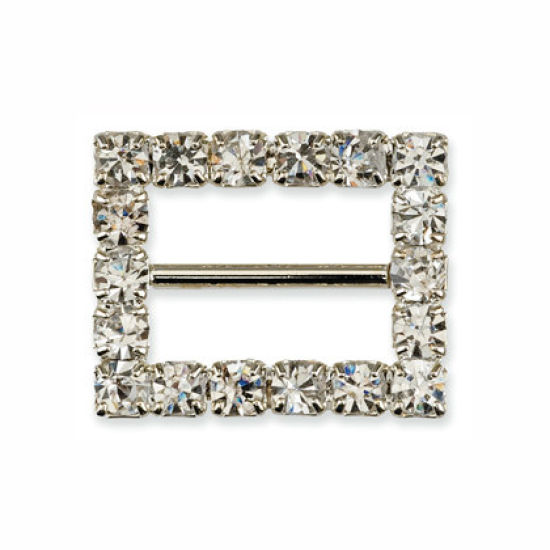 Small Diamante Rectangle Ribbon Buckle Pack of 10