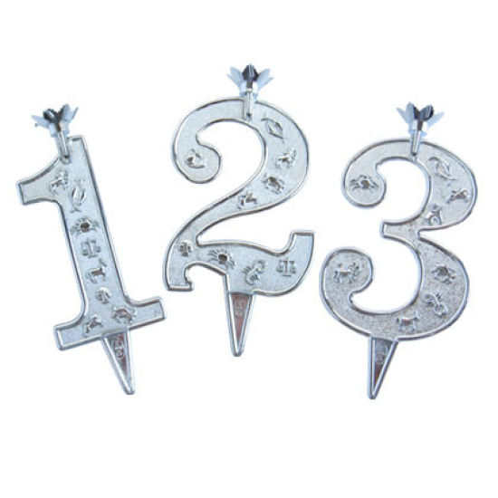 Silver Plastic Number Candle Holders - No 0
