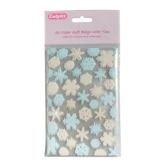 Snowflake Favour Bags with Ties Pack of 50