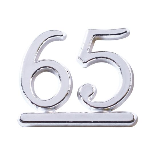 Silver Plastic Numbers 2.5cm - No 65