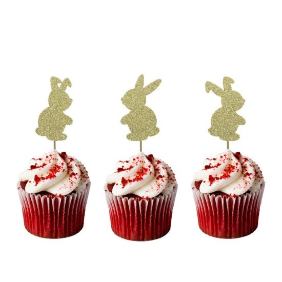 LissieLou Easter Bunny Cupcake Toppers Glitter Card Gold