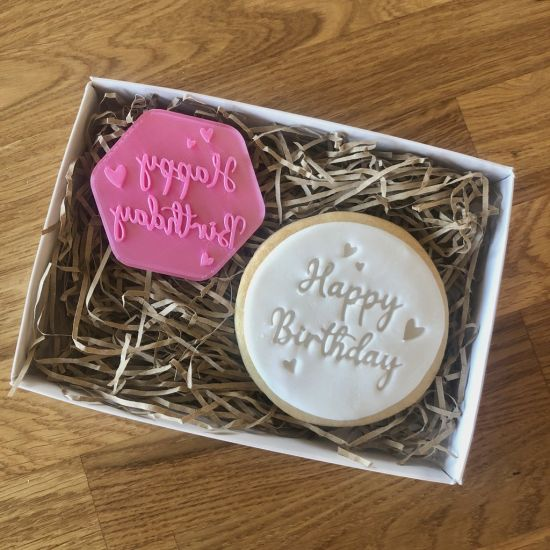 LissieLou Happy Birthday with Hearts Cookie Stamp