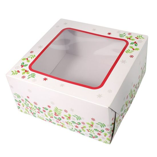 "Holly Square Cake Box 10"""