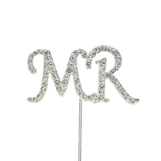 "Diamante Cake Pick ""MR"""