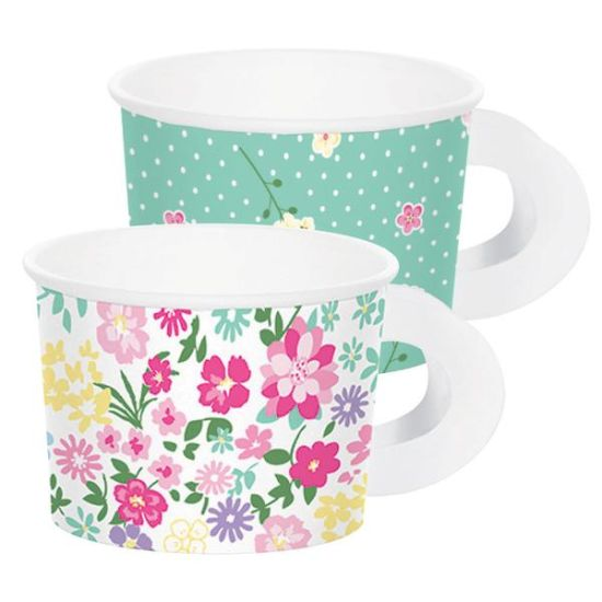 Paper Treat Cups Floral Tea Party with Handles Multi-Pack Pk 8