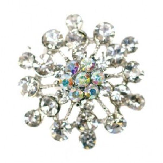 Small Flower Diamante Brooch