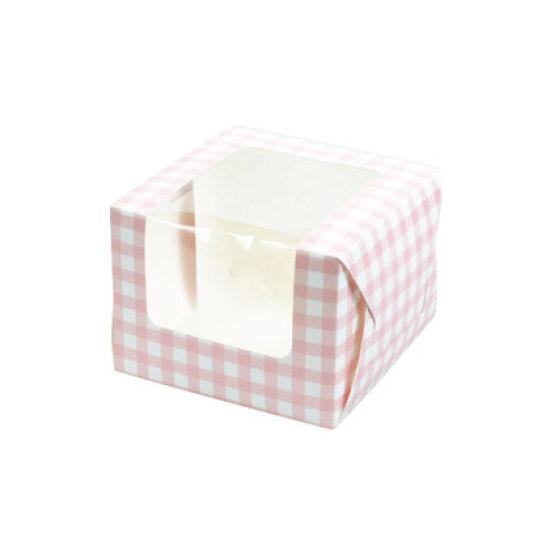 Pink Gingham Cupcake Box - Single