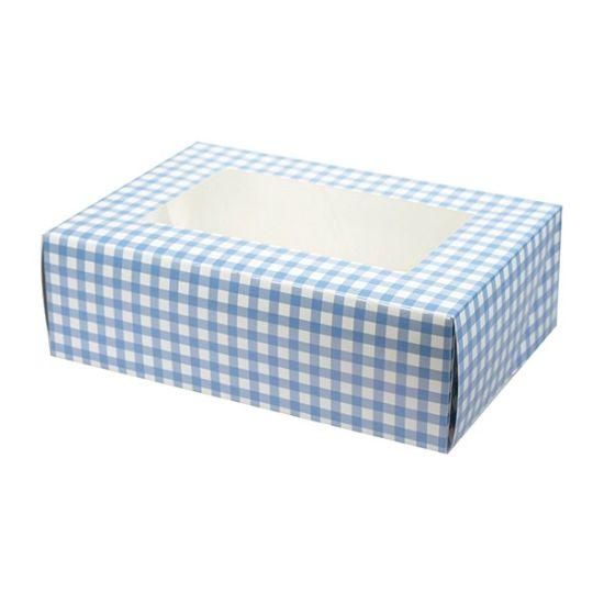 Blue Gingham Cupcake Box - 6 Pieces